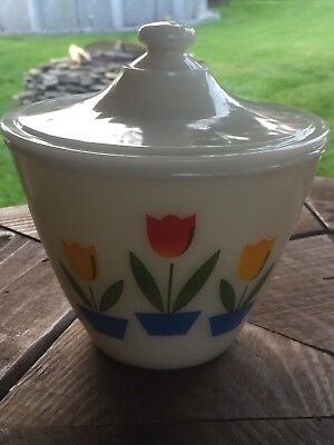 Vintage Fire King  Oven Ware Tulip Grease Jar Bowl with Lid