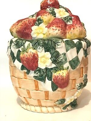 Strawberry & Blossom With Gingham Check Napkin Fruit Basket Figural Cookie Jar