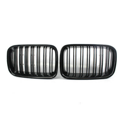 For BMW 3-Series E36 1992-1996 Gloss Black Double Slat Front Racing Grille PAIR