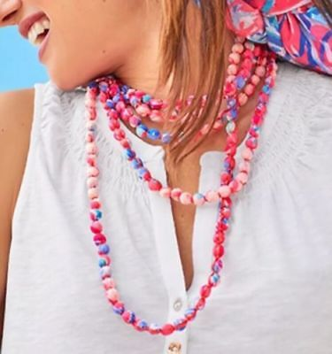 Lilly Pulitzer NWT Fabric Wrapped Bead Necklace Light Pascha Aquadesiac