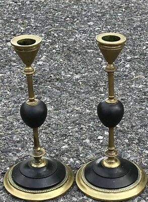 Pair Of Lovely 19th Century French Empire Style Brass And Slate Candlesticks