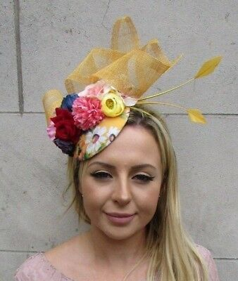 Mustard Yellow White Red Blue Floral Flower Feather Hat Hair Fascinator 6084