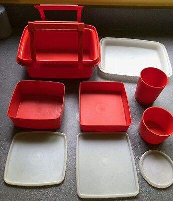 Tupperware Vintage 10 Piece Pack N Carry Lunch Box Set  #1254