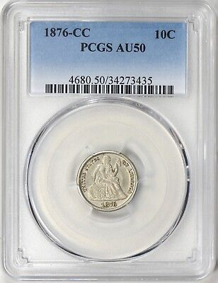 1876-CC Liberty Seated Dime PCGS AU50 Carson City Type Coin About Uncirculated