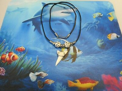 "Genuine 1 1/4"" Mako Shark Tooth Necklace Sharks Teeth Beachwear Surf Wear"