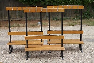 Vintage School Gym Changing Bench, cloakroom, coat hooks, hallway bench, retro,