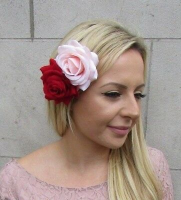 Red Light Blush Peach Pink Double Rose Flower Hair Clip Fascinator Wedding 6094