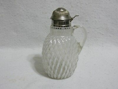 "Buckeye Glass White Opalescent ""Reverse Swirl"" Syrup Pitcher"