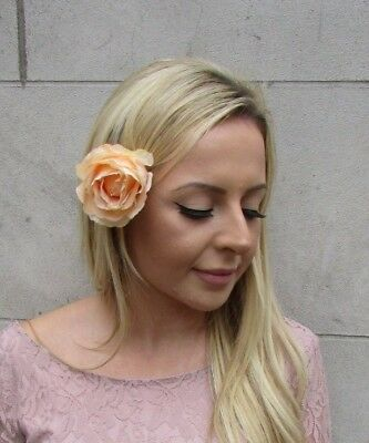 Apricot Peach Rose Flower Hair Clip Fascinator Wedding Races Floral Vintage 6097