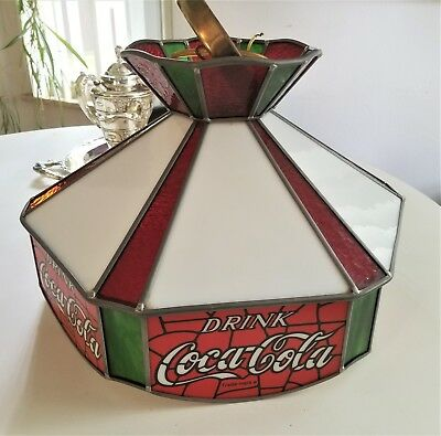 Vintage Coca-Cola Led stained Glass Swag Lamp Ceiling Light Excellent Condition