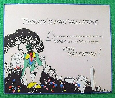 ☞ Black Americana 1930s VALENTINE DAY CARD African American Negro Man Stereotype