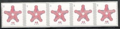 4749 Patriotic Star Strip Of 5 Mint/nh Free Shipping