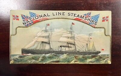 vintage National Line Steamships advertising/trade card ca.1880's,Liverpool