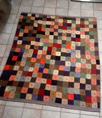 "Vintage Quilt Tied Patchwork Squares 84"" x 72"" Multicolored nice!!!!"