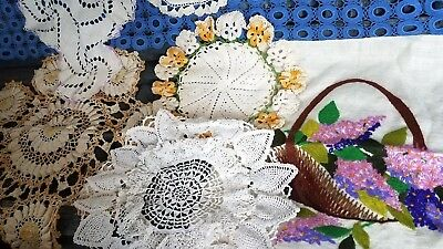 Vintage Crochet Lace Doily Lot Color Embroidered Linen Pillow Cover Table Runner