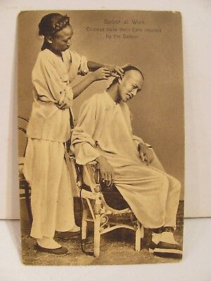 Antique Hong Kong post card. 1908. Chinese barber cleaning ears. Kuhn & Komor.
