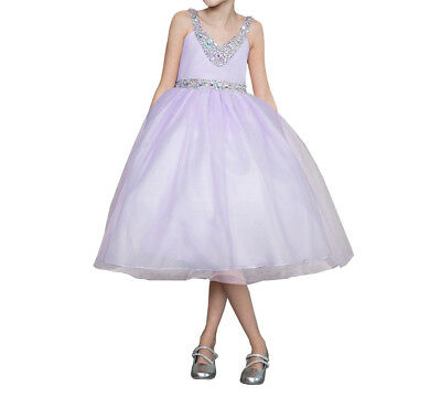 Bridesmaid Pageant Flower Girl Wedding Dress V-Neck Rhinestone sz 2-16 Lilac