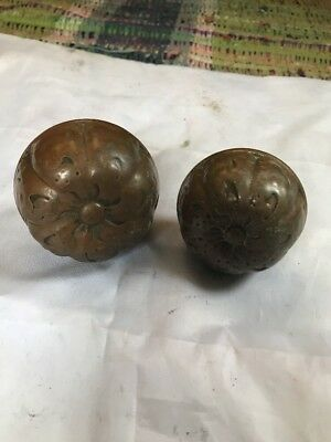 Pair Eastlake Victorian Antique Door Knob Doorknob Hardware Brass