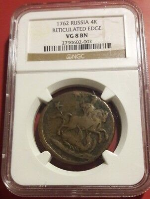 Russia Empire 4 Kopeks 1762 Vg 8 Bn Ngc Reticulated Edge Rare