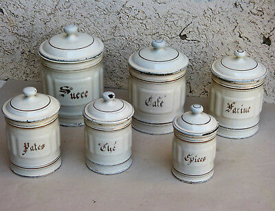 French Country Enamel Enamelware Canister Set 6 CREAM WHITE GOLD antique vintage