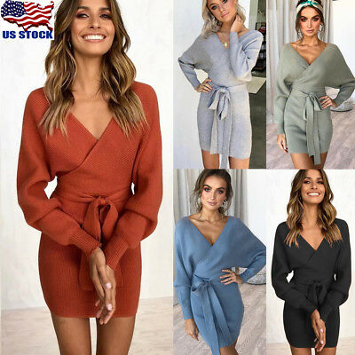 Womens Winter Dress Long Sleeve Wrap V Neck Knitted BodyCon Sweater Mini Dresses
