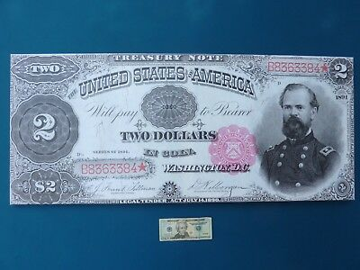 1891 $2 Star Note  General Mc Pherson Giant Limited Edition Treasury Art