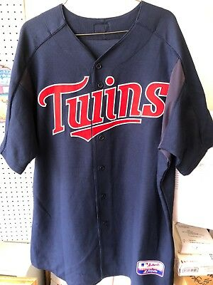 149168e64 Authentic Minnesota Twins Game Issued Game Used Majestic NAVY Jersey  64 Sz  48
