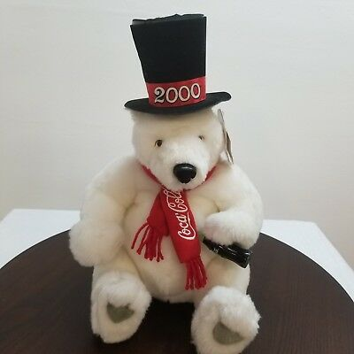 "Coca Cola Polar Bear Plush Coca Cola Embroidered Scarf Bottle 14"" 2000 Tophat"