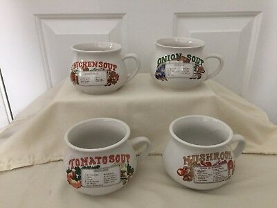 SET OF 4 Vintage Soup Bowls w/ Handles Soup Recipes Printed on Front ...