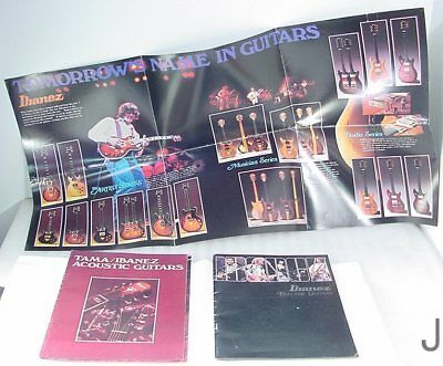 1978 Ibanez Color Catalog Electric Guitars P. Stanley Kiss G. Benson Fold Out Lg
