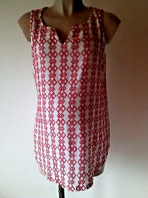 Next Maternity Red & White Embroidered Front Contrast Vest T-Shirt Top Size 8