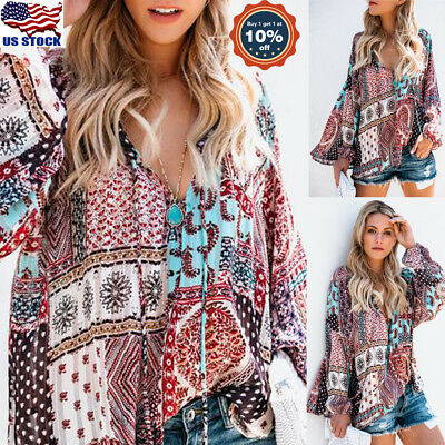 Fashion Women's Summer Floral Printed Long Sleeve Shirt Loose Casual Blouse Tops