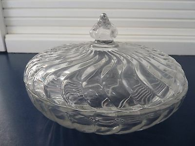 "CRYSTAL FOSTORIA COLONY Candy Box & Lid 4"" Tall X 6½"" Wide"