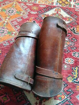 Antique boot spats gaiters military leather leg protection steampunk
