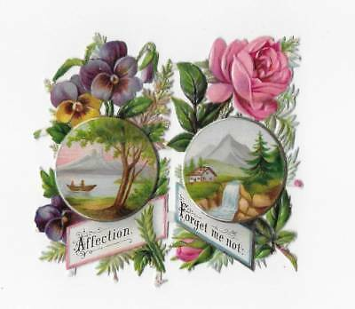 """ANTIQUE VICTORIAN DIE-CUT SCRAP ~ TWO CONNECTED TOKENS LAKE MOUNTAIN 2-1/4"""" Each"""