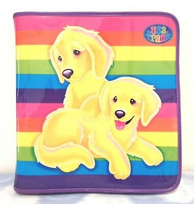 Vintage 90s Lisa Frank Puppy Dog Rainbow 3 Ring Zip Zipper Folder Binder VGC