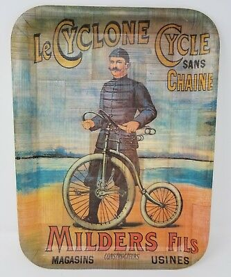 Vintage Bamboo Tray Milders Fils Le Cyclone Cycle Sans Chaine French Bicycle Ad