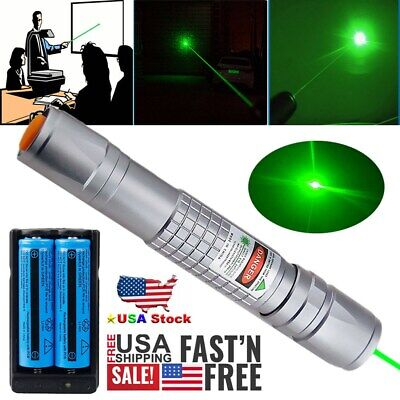 50Miles Green Laser Pointer Pen 532nm Lazer Beam Light 2x 18650 Battery +Charger