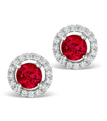 2Ct Round Created Red Ruby Diamond Halo Cluster Stud Earrings 14K White Gold