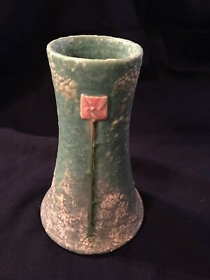 Experimental Ephraim Faience Pottery light blue green vase Ken Nichols artist