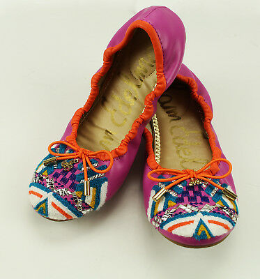 ff1bbc57e New Kids Girls Sam Edelman Felicia Embroidered Pink Flats Ballet Shoes 3