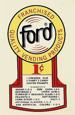 Ford 1 Cent.gumball, Coinop, Vending, Water Slide Decal N# Df 1004