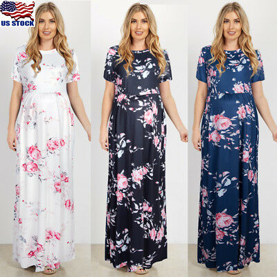 Pregnant Women's Floral Long Dress Short Sleeve For Maternity Mother Clothes USA