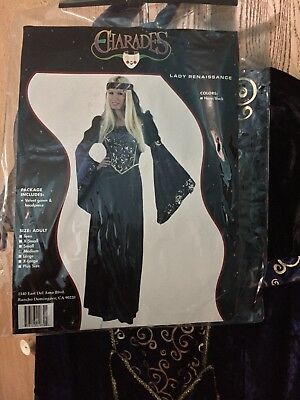 Beautiful Lady Renaissance Charades Medium With Velvet Gown And Headpiece