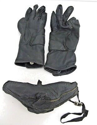 """Vintage 1960's """"mens Racing Black Leather Face Mask & Gloves Small (Lot 14)"""