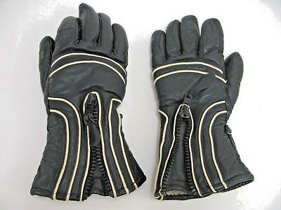 Vintage Mens Black Heavy Leather Gloves Fur Lined Small (Lot 15)