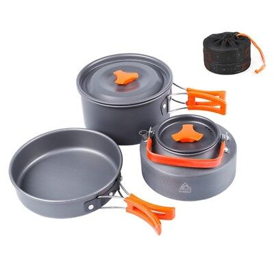 Hot Camping Cookware Set Outdoor Cooking Pot Frying Pan Kettle With Storage Bag