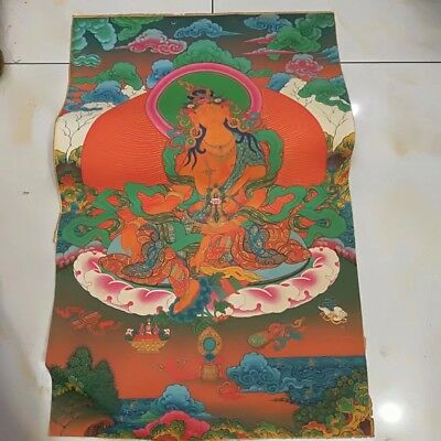 Chinese Antique Tibetan Buddhist hand-painted Thangka Thang-ga