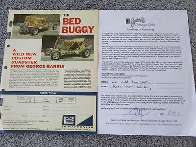 GEORGE BARRIS KUSTOM BED BUGGY PROMO SHEET from George's personal files w/ COA