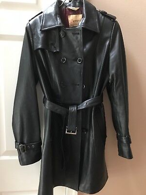 lambskin leather trench jacket